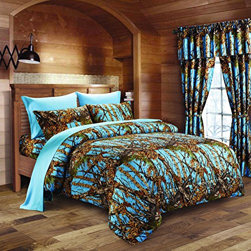 Camo Bed Bag - 20 Lakes Luxurious Microfiber Powder Blue Camo Comforter & Sheet Set Bed in a Bag - Queen