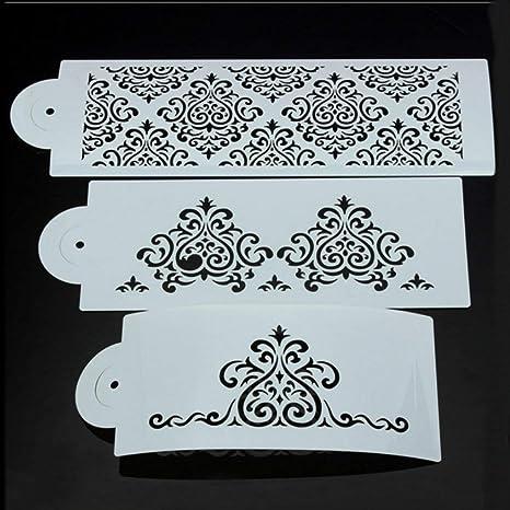 Delicacydex 3 Unids DIY Filigrana Damasco Flor Pastel Plantilla Tallado Craft Fondant Impresión Molde Crema Azúcar