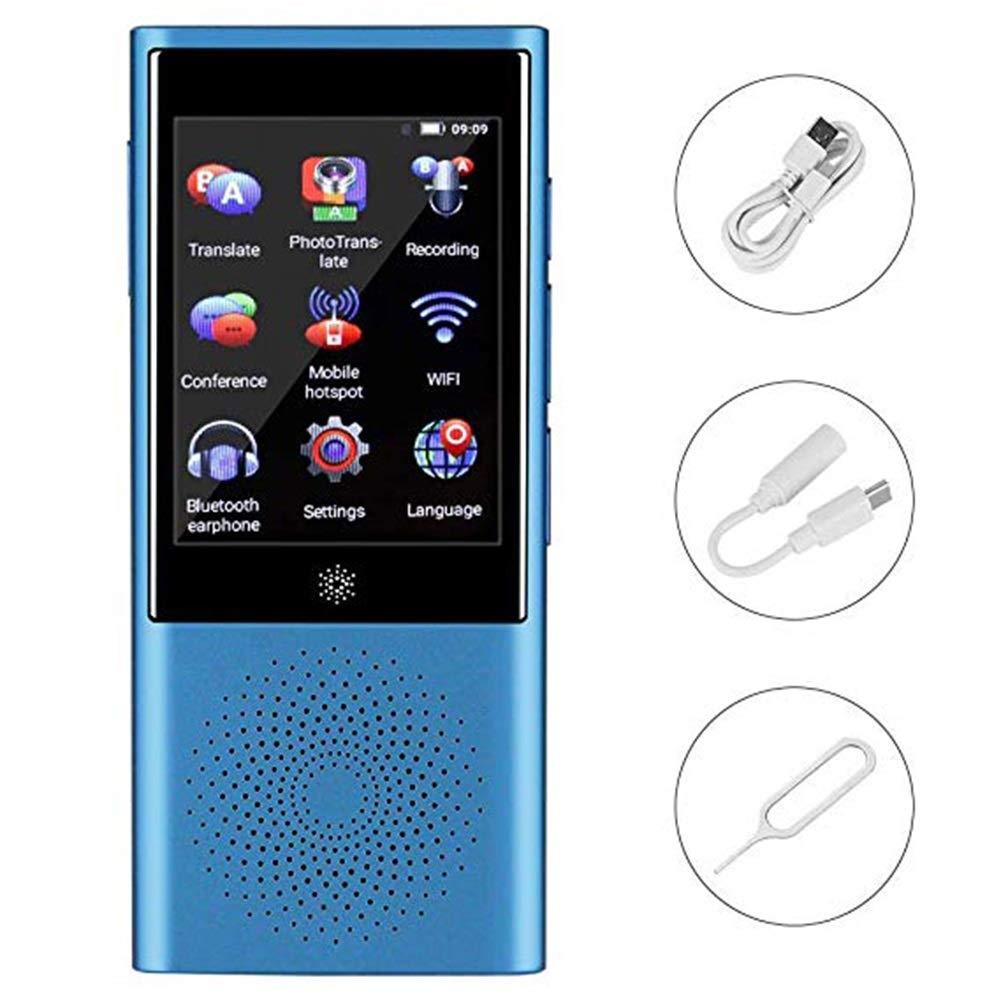 携帯用スマート言語翻訳装置、タッチスクリーンサポート付き45言語翻訳オフライン/録音/写真翻訳、旅行学習ショッピングビジネスチャット (色 : 青)  青 B07QQYT2ZD