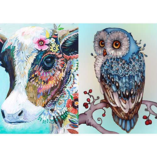 Drill 090 (2 Packs 5D DIY Diamond Painting Set Full Drill Diamond Painting Arts Craft for Home Wall Decor(Colorful Cow +Lucky Owl,11.8x15.7inch))