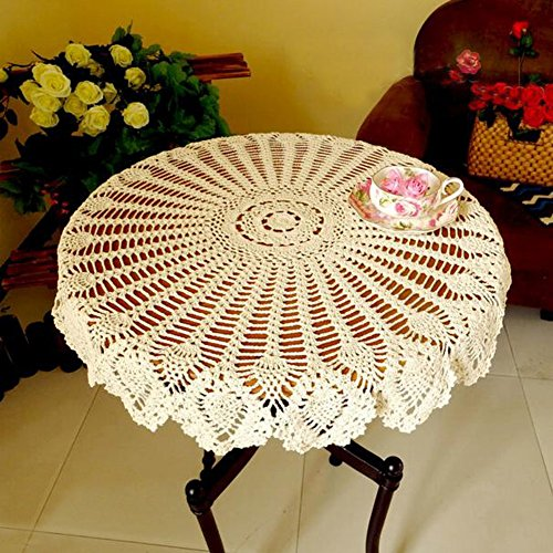 Fuloon American Country Rural Style Handmade Crochet Eucomis Comosa  Pineapple Flower Pattern Pure Cotton Round Placemat Tablemat Table Cloth  Doily (31.5in) ...