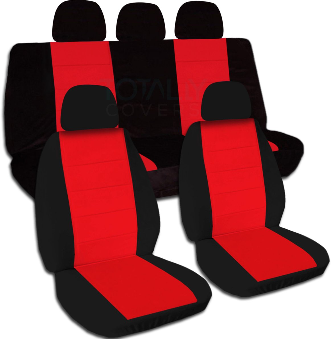 Two-Tone Car Seat Covers w 5 (2 Front + 3 Rear) Headrest Covers: Black & Red - Semi-Custom Fit - Full Set - Will Make Fit Any Car/Truck/Van/SUV (21 Colors)