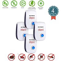 Ultrasonic Pest Repeller Plug in Indoor Pest Control Repellent for Mice Rodents Ant Mosquitos Bed Bugs Cockroachs Spiders(Pack of 4)