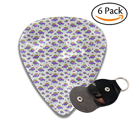 Janeither Celluloid Guitar Picks Ocean Fish Clips Arts Cool Stylish Guitar Accessories 6 Pack For Acoustic, Electric, Original And Bass Guitars