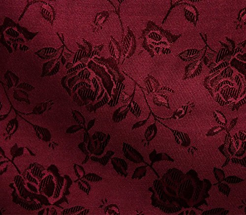"""Satin Floral Jacquard Fabric 58"""" Wide Sold by The Yard (Burgundy)"""