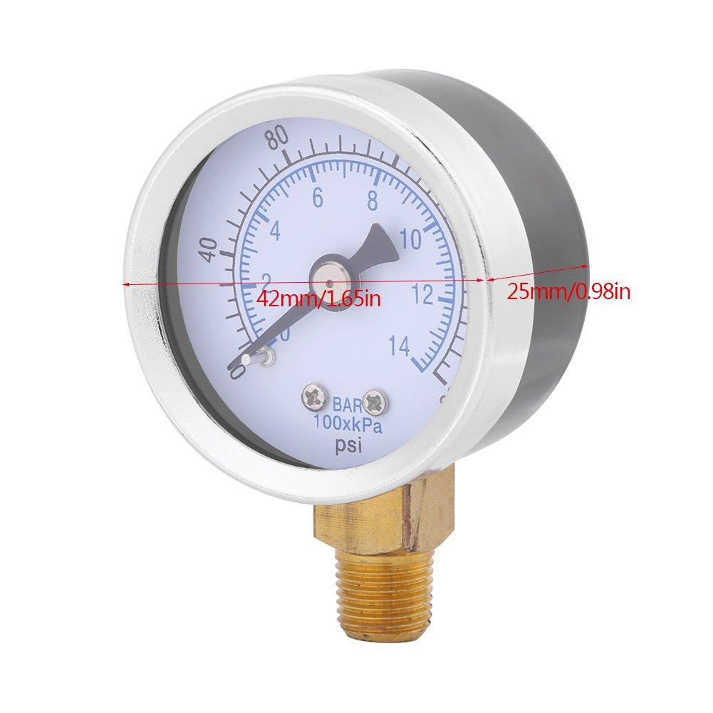 200psi Jauge de pression de leau hydraulique pour carburant Huile de lair ou de leau 40/mm Cadran M/ètre 1//20,3/cm NPT 0 14bar