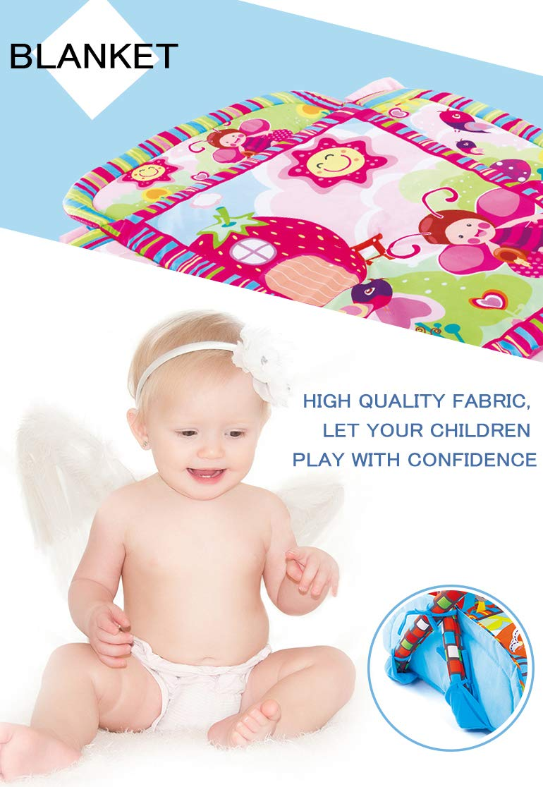 Baby Activity Gym, Play and Kick Floor Mat, Soft and Large Baby Quilt Mat, Lovely Baby Gym with Colorful Monkey Stuffed Toys