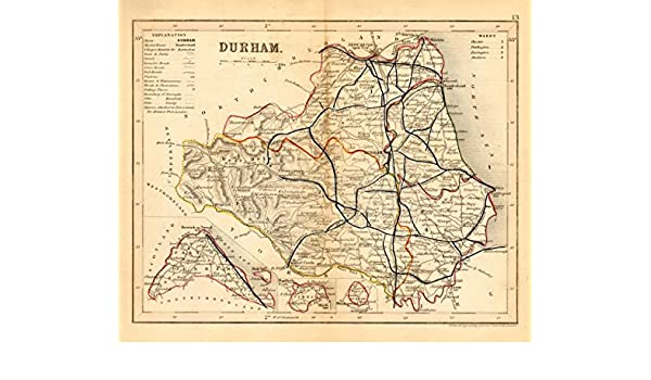 Amazon.com: DURHAM county map w/ exclaves. ARCHER & DUGDALE. Seats on