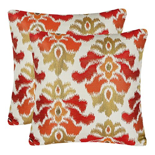 Pack of 2 Simpledecor Accent Pillow Covers Sofa Pillow Cases, 20X20 Inches, Jacquard Vintage Damask Pattern, Red Cream - Damask Accent Pillow