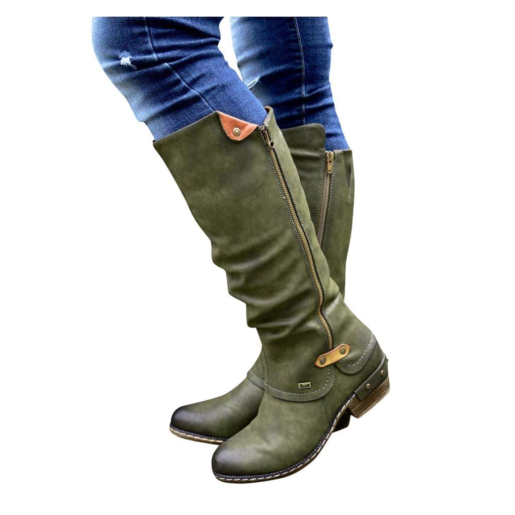 Womens Long Boots Shoes Stylish Cowboy Riding Boots Casual Knee Middle Tube Boots Outdoor Footwears Dress Shoes Green by Gyouanime