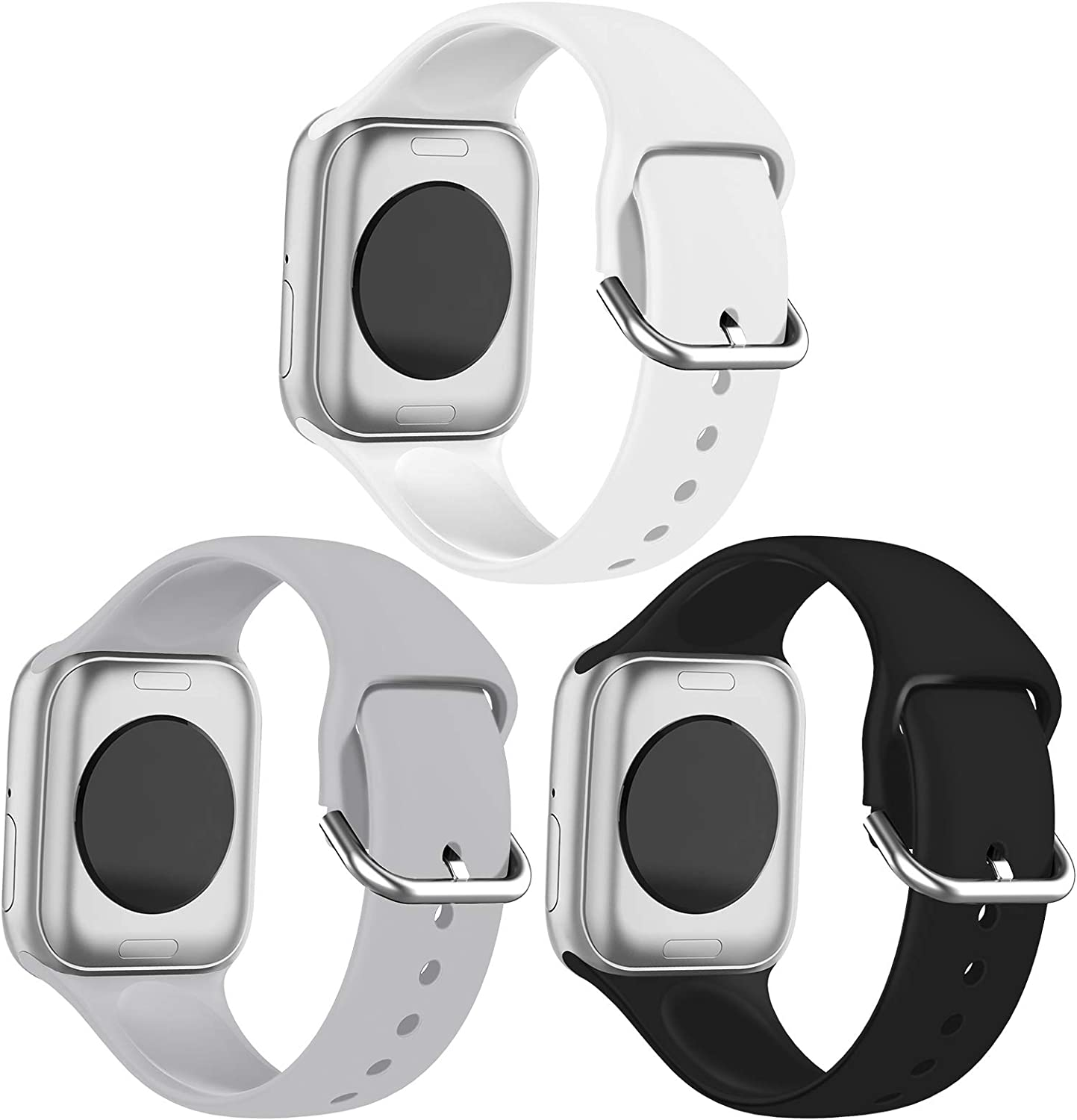 FRDERN Apple Watch Bands Compatible with Apple Watch 38mm 40mm 42mm 44mm Durable and Scratch-resistant Soft Silicone Replacement Strap for iWatch Series 5/4/3/2/1 & iWatch SE (Black/Grey/White, 42mm/44mm-M/L)