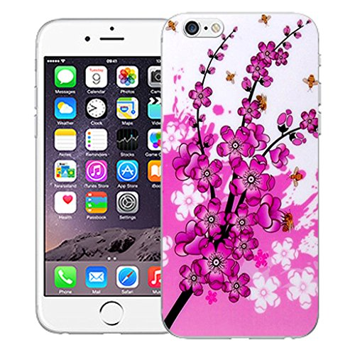 "Mobile Case Mate iPhone 6 4.7"" Silicone Coque couverture case cover Pare-chocs + STYLET - Pink Floral Bee pattern (SILICON)"
