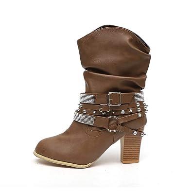 0c698387482873 High Heel Stiefel Damen Leder mit Blockabsatz Warm Gefüttert Winterschuhe  Ankle Stiefeletten Niet Mode Kurzschaft Boots