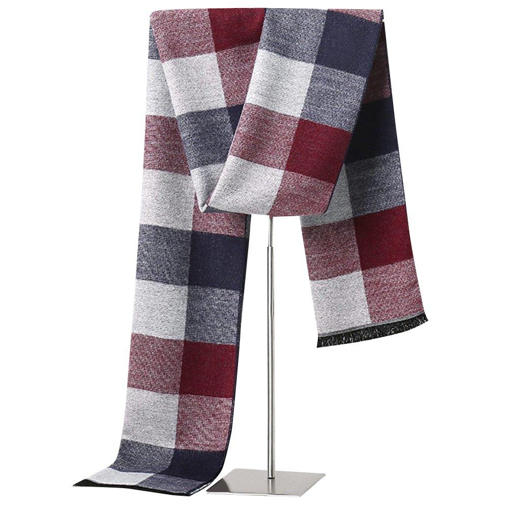 LETSQK Men's Winter Cashmere Soft Feel Scarves Long Plaid Stripes Warm Wrap LETSQK-112134-Black
