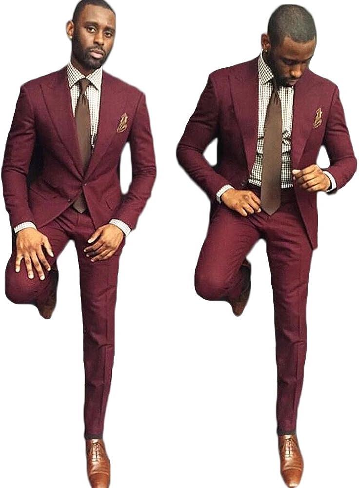 AK Beauty Men's 2 Piece Wedding Groom Suit Formal Business Suit (Jacket+Pants)