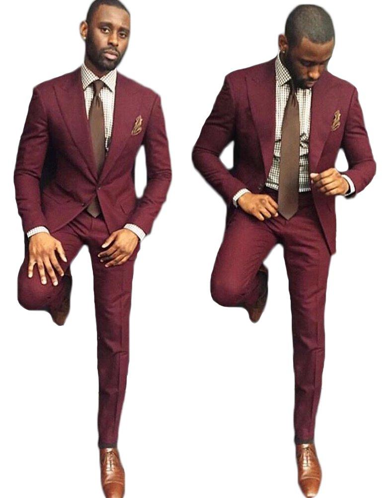 AK Beauty Men's 2 Piece Wedding Groom Suit Formal Business Suit (Jacket+Pants) (38'' Chest/32'' Waist, Burgundy)