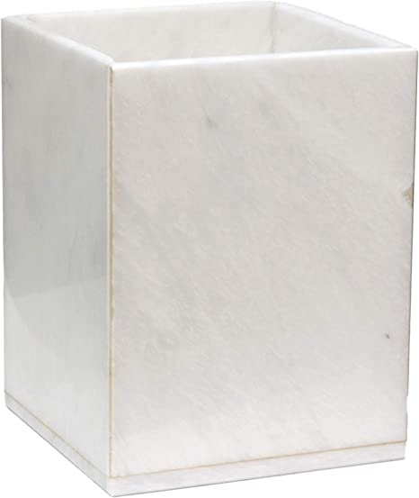 Amazon Com Polished Marble Wastebasket Alabaster White Shower And Bathroom Accessory Home Kitchen
