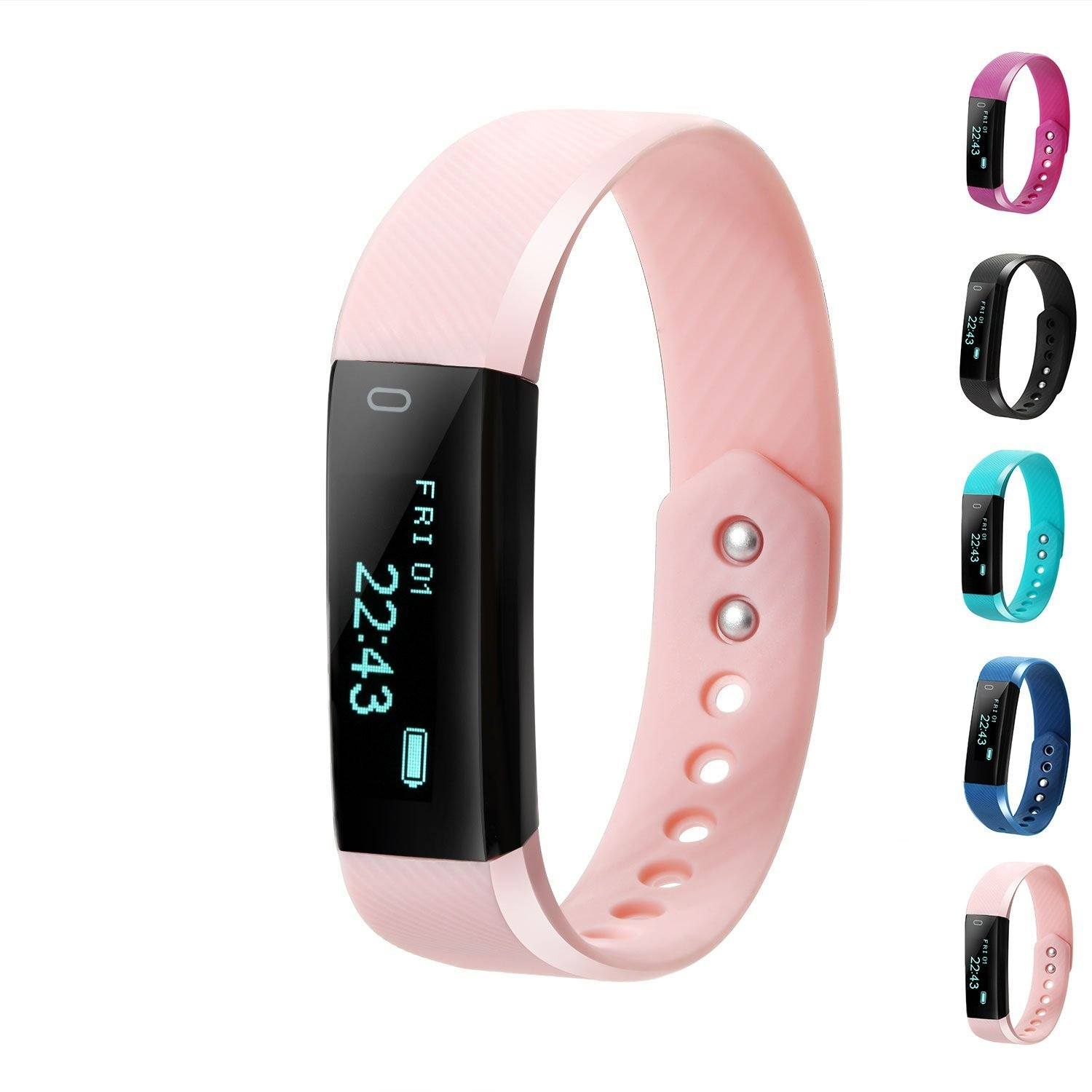 Fitness Tracker, LCStream Smart Watch Health Bracelet Activity Tracker with Step track, Calories track, Sleep monitor, pedometer for iOS and Android (Pink)