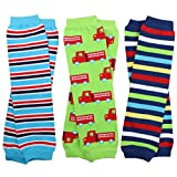 juDanzy 3 Pair Baby Boy Leg Warmers stripes, firetruck (Newborn)
