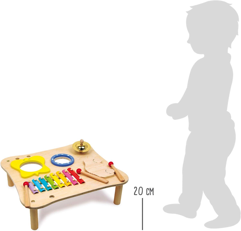 1166 Tavolo musicale in legno small foot incl bacchette in legno xilofono tamburello a partire da 3 anni