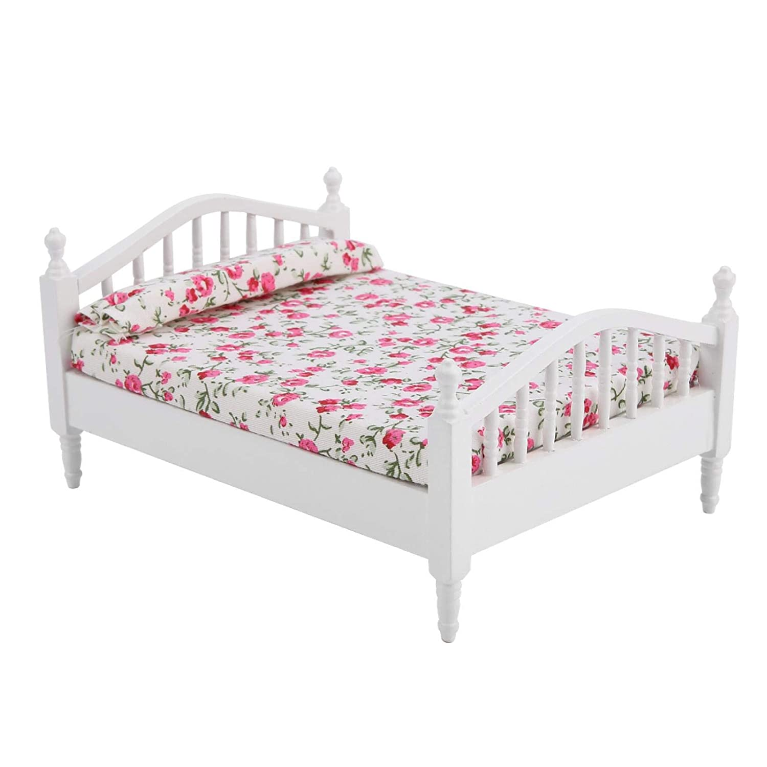 Dollhouse Bed,Dollhouse Accessories, Flower Pattern Mini Furniture Double Bed for 1/12 Scale Doll,Wood + Cloth,for 1/12 Scale Dollhouse or Doll