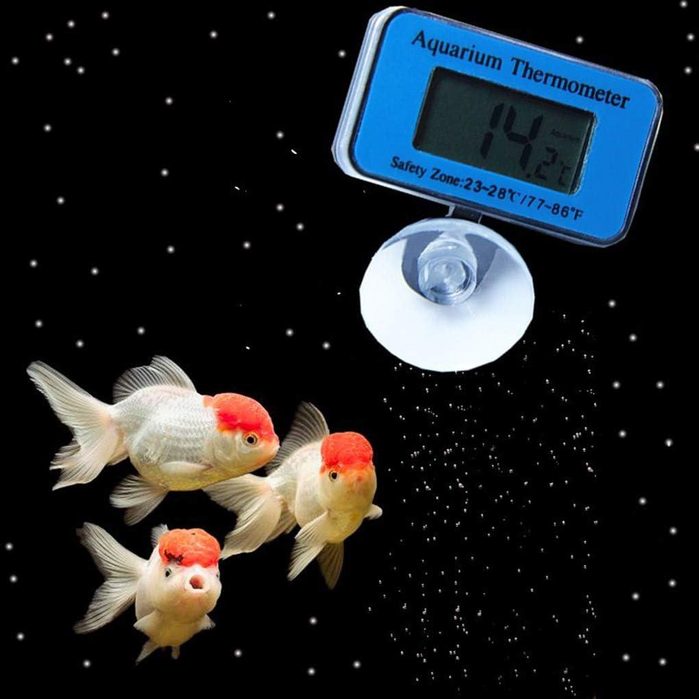 Rekkles Medidor de Temperatura del Agua del Tanque de Peces de Acuario term/ómetro Sumergible Sucker LCD Digital del Agua