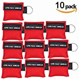 Pack of 10pcs CPR Mask Keychain Ring Emergency Kit Rescue Face Shields with One-way Valve Breathing Barrier for First Aid or AED Training (Red)