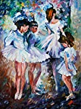 Young Ballerinas is a Limited Edition print from the Edition of 400. The artwork is a hand-embellished, signed and numbered Giclee on Unstretched Canvas by Leonid Afremov. Embellishment on each of these pieces will be slightly different, but the imag...