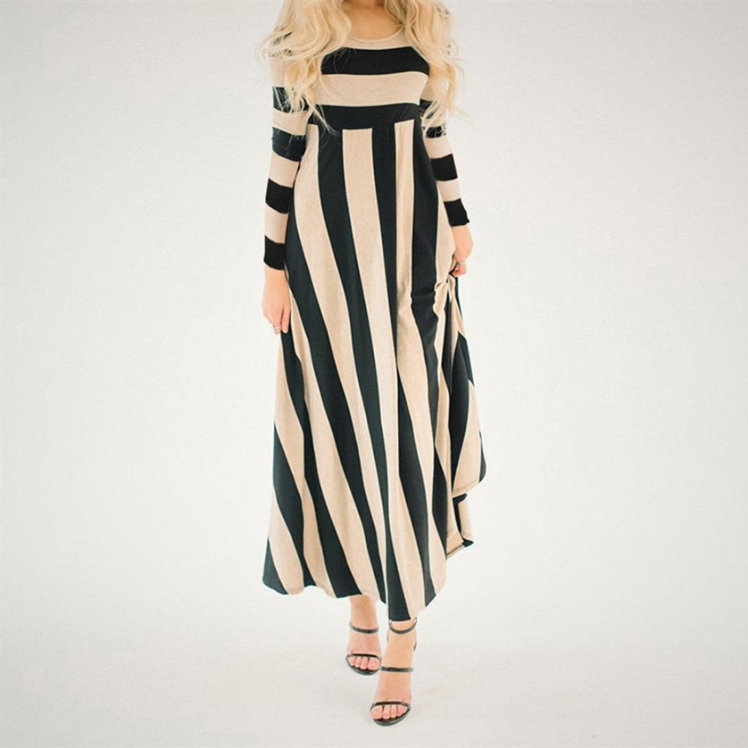 Halloween Promotion! Teresamoon Women Long Sleeve O Neck Striped Maxi Dress Evening Party Long Dress at Amazon Womens Clothing store:
