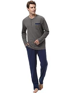 Aibrou 100% Algodón Pijama Hombre Invierno Mangas Larga Pantalon Largo 2 Piezas, Cómodo y