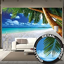 Sandy beach with palm trees and the sea photo wallpaper – paradise beach and palm trees mural – XXL beach wall decoration 132.3 Inch x 93.7 Inch