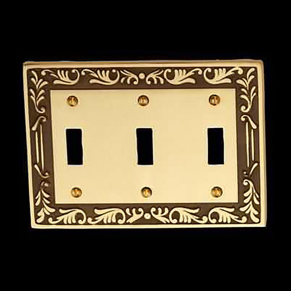 Victorian Switch Plate Triple Toggle Antique Solid Brass ...