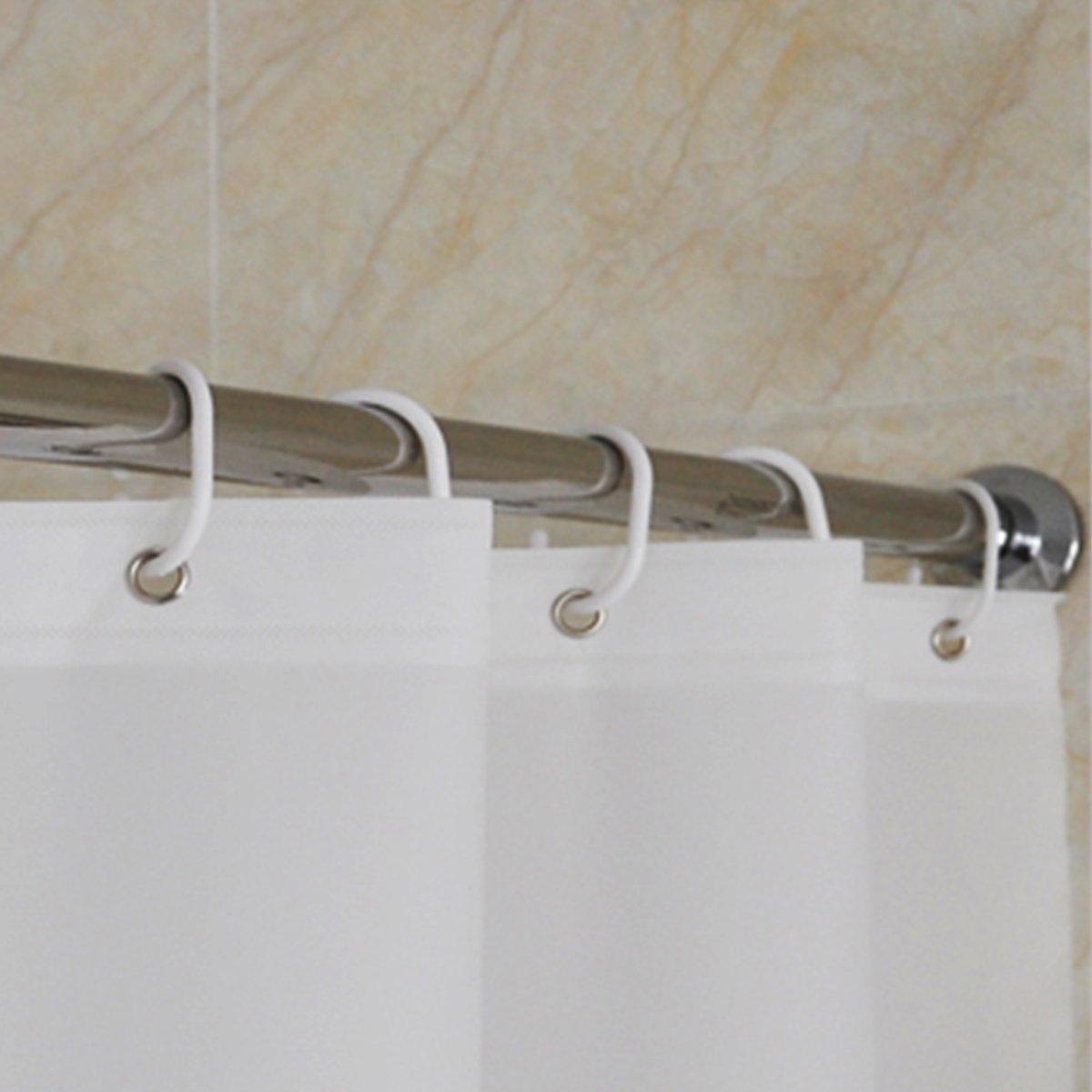 CRW Shower Curtain Liner Mildew Resistant Waterproof Polyester Bathroom Curtain Hooks White