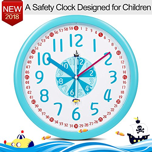 "Kids Wall Clock Silent Baby Nursery 12"" Large Wall Clock Analog Battery Operated in Kids Room Mute Clock-Pirate ship Submarine Theme, Easy Read Learn Time Children Boy Girl Bedroom Wall Clock Blue"