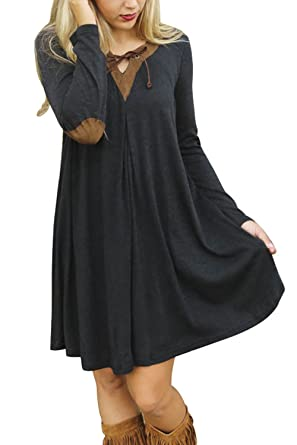 1c069d78cf Zilcremo Women Casual Long Sleeve V Neck Patchwork Tunic Swing Party Dress  Black L