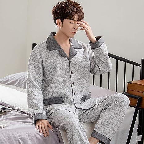 ZWLXY Pijama de algodón Hombres 2 Piezas Salón Dormir Pijamas ...