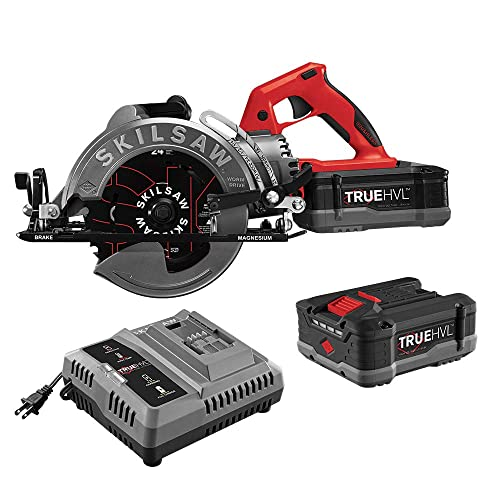 SKILSAW SPTH77M-21 48V 7-1 4 In. TRUEHVL Cordless Worm Drive Saw Kit With 2 TRUEHVL Batteries