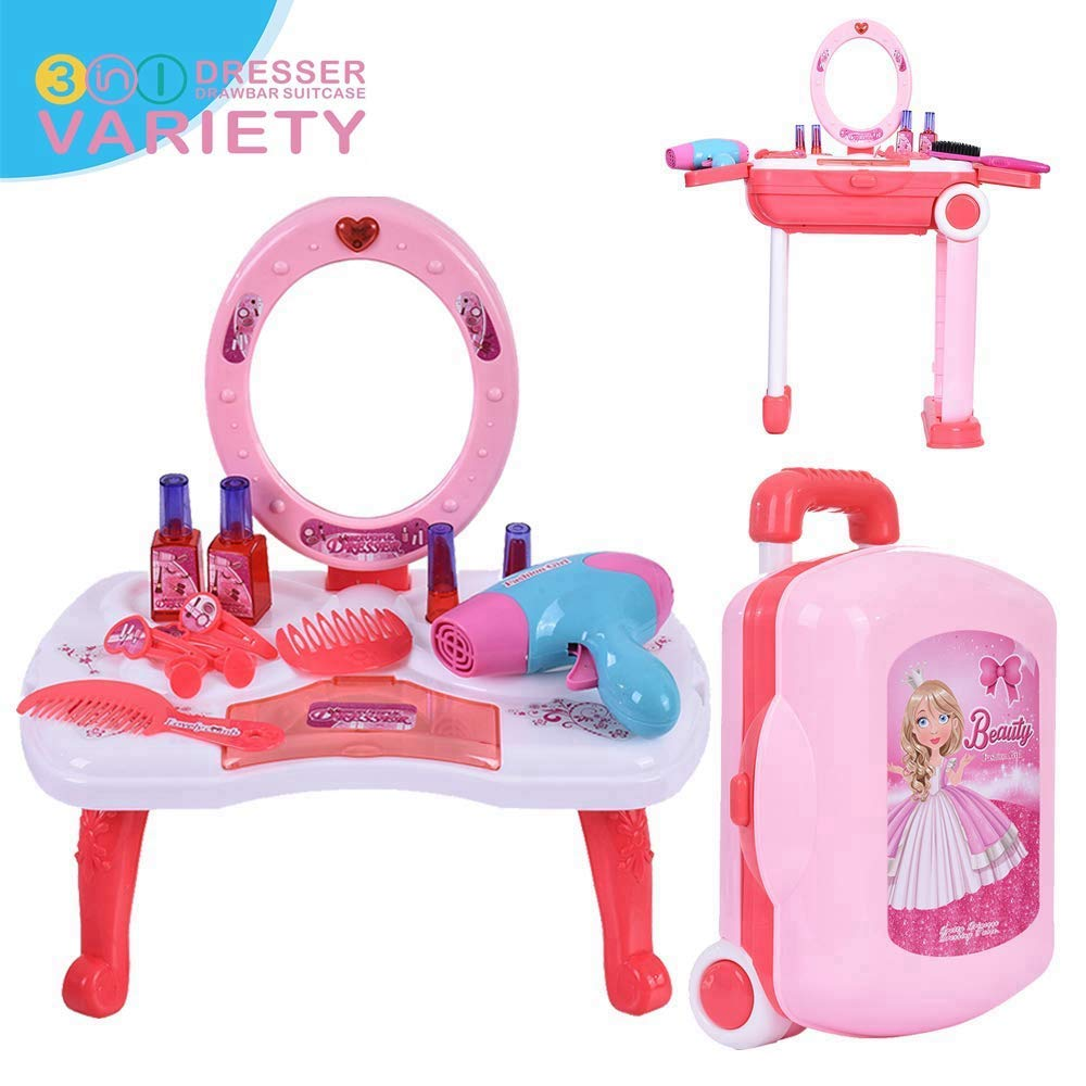 3 in 1 Pretend Play Kids Vanity Table & Suitcase, Beauty Make Up Simulation Dressing Table Girl Toy 2-3-4-5-6 Years Old with Beauty Mirror and Makeup Accesories 9x5.5x13.5 inches (Dressing Table Set) by Loeiwg