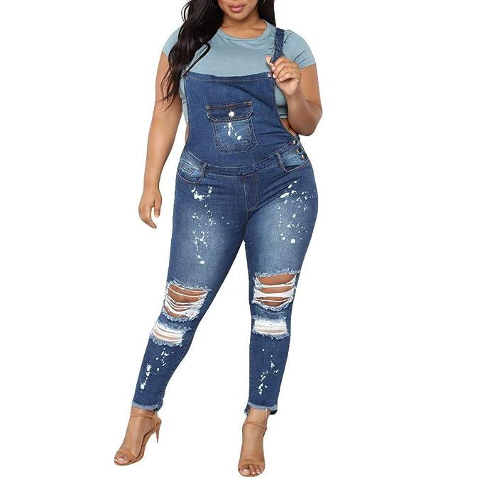 NPRADLA Vaqueros Jeans Tendencia de Dril de algodón de Mezclilla para Mujer Vaqueros Demin Mono Moda Casual Azul L: Amazon.es: Ropa y accesorios