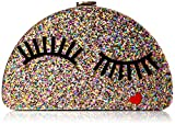 MILLY Glitter Eyelash 1/2 Moon Clutch, Multi