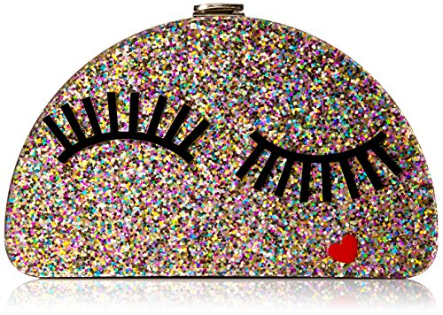 MILLY Glitter Eyelash 1/2 Moon Clutch, Multi by MILLY