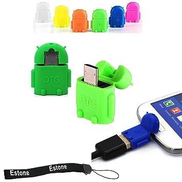 GalaxyWorld® Robot Android Micro USB adaptador USB OTG para la PC de la tableta de teléfonos inteligentes y se conectan al teclado y ratón (verde): ...