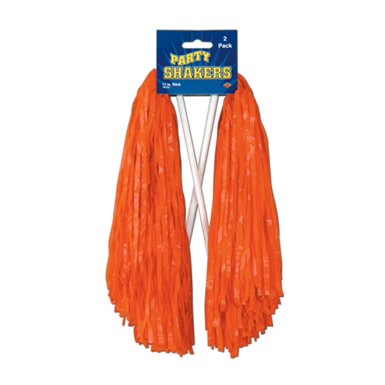 Club Pack of 48 Pre-Packaged Orange Football Themed School Spirt Poly Shakers 12''
