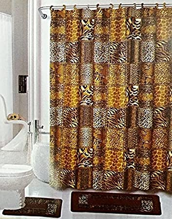 Brown Safari 15 Piece Bathroom Set: 2 Rugs/mats, 1