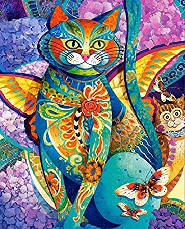 Yumeart DIY 5D Mosaic Diamond Painting Colorful Cartoon Cat Cross Stitch Rhinestone Diamond Embroidery Art Crafts