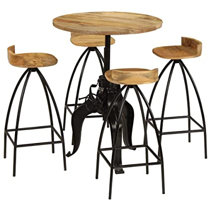 de Bar4 Chaises Table en Ensemble Festnight Table Bois NPO0X8nwk