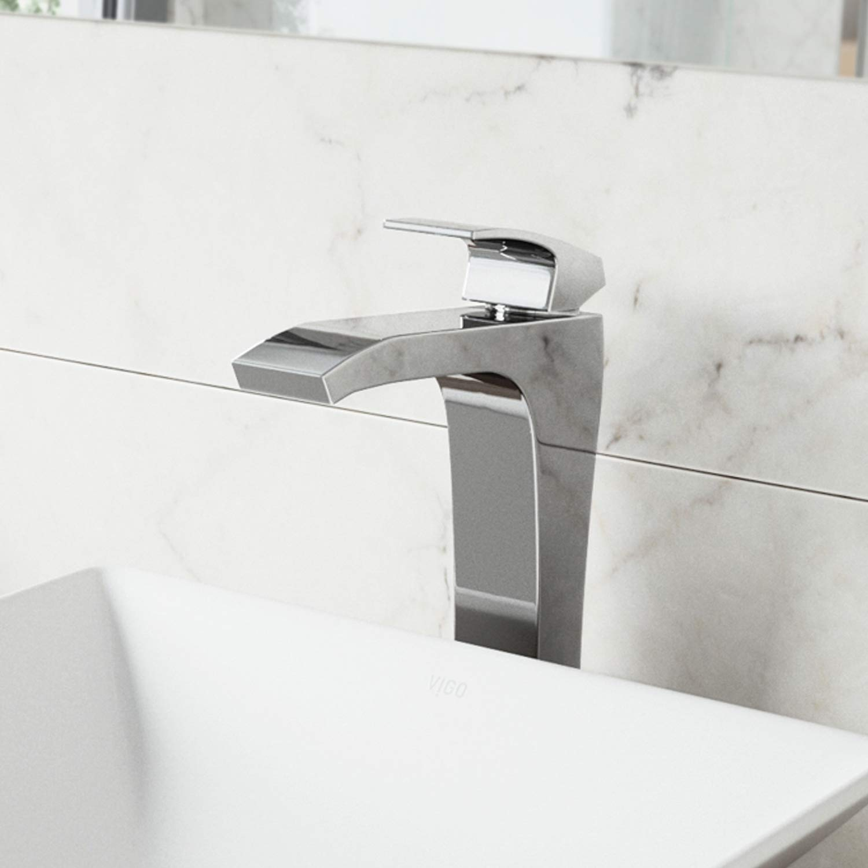 VIGO VG03018CH Blackstonian Single Handle Modern Brass Bathroom Faucet, Lavatory Vessel Sink Faucet with Plated Seven Layer Chrome Finish