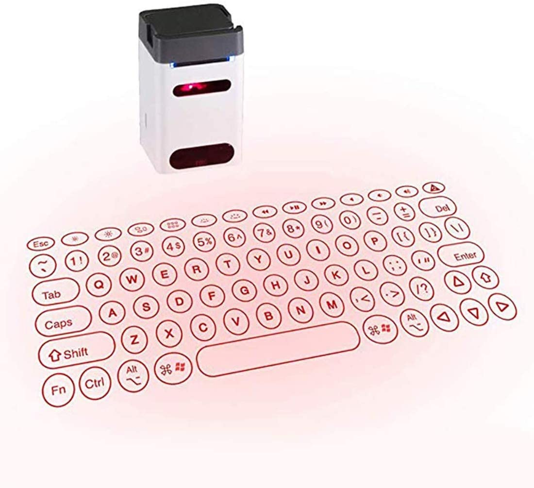 Heartbeat Laser Projection Keyboard, Bluetooth Virtual Keyboard with Keyboard/Mouse/Mobile Power/Mobile Bracket/USB Connection, Wireless Wired Connection Keyboard for Windows/iOS/Android