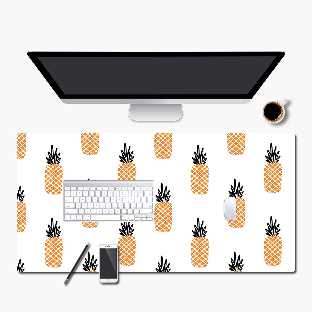 Extended PU Leather Mouse Pad Mat Large Office Gaming Table Desk Mousepad for PC Computer MacBook iMac Keyboard Phone Waterproof Washable Anti-Slip Ultra Thin 2mm - 31.4'' x 15.7'' rnairni (Pineapple)