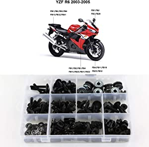 Xitomer Full Sets Fairing Bolts Kits, for Yamaha YZF-R6 2003 2004 2005 YZF-R6S 2006 2007 2008 2009, Mounting Kits Washers/Nuts/Fastenings/Clips/Grommets (Matte Black)